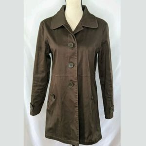 Max Studio Brown Silk Lined Trench Jacket, L.